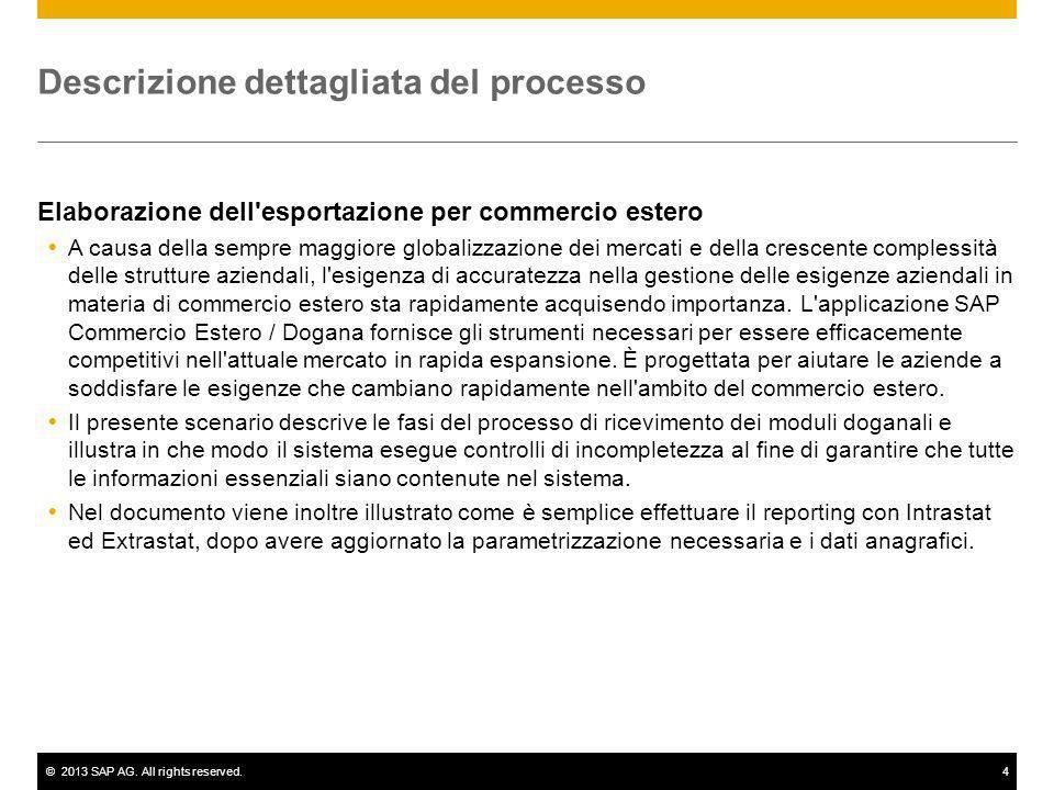 ©2013 SAP AG. All rights reserved.4 Descrizione dettagliata del processo Elaborazione dell'esportazione per commercio estero A causa della sempre magg