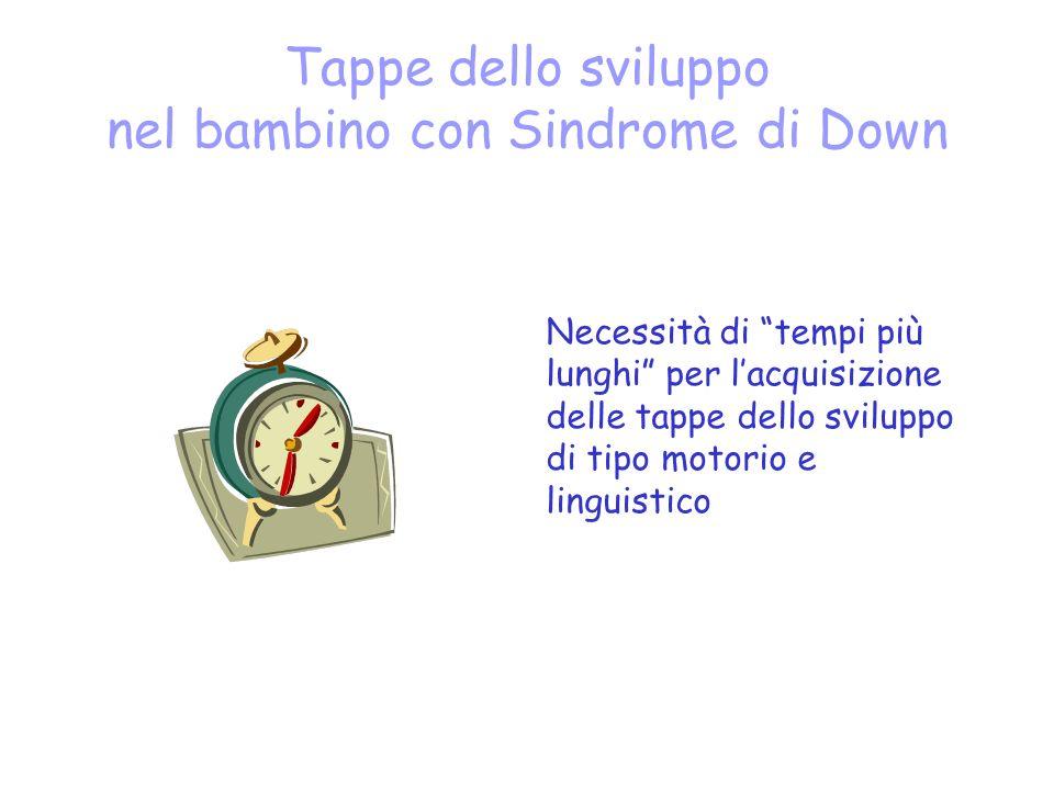 Tappe dello sviluppo nel bambino con Sindrome di Down Necessità di tempi più lunghi per lacquisizione delle tappe dello sviluppo di tipo motorio e linguistico