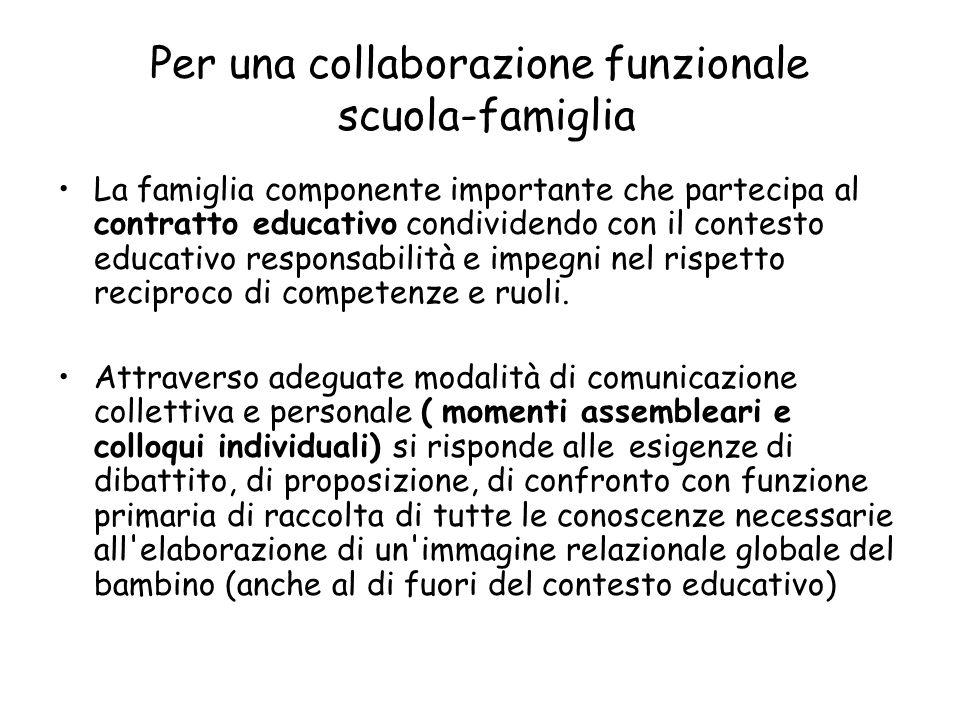 Per una collaborazione funzionale scuola-famiglia La famiglia componente importante che partecipa al contratto educativo condividendo con il contesto educativo responsabilità e impegni nel rispetto reciproco di competenze e ruoli.