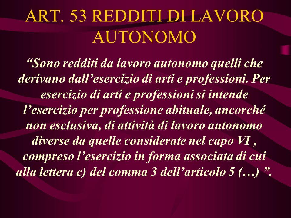 ART. 53 REDDITI DI LAVORO AUTONOMO Sono redditi da lavoro autonomo quelli che derivano dallesercizio di arti e professioni. Per esercizio di arti e pr