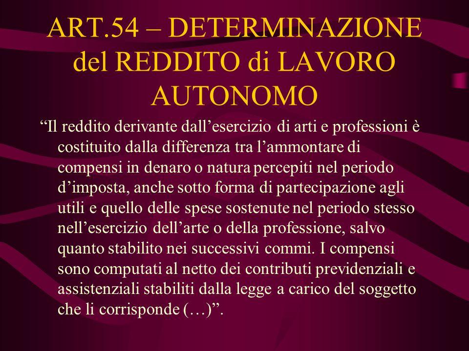 ART.54 – DETERMINAZIONE del REDDITO di LAVORO AUTONOMO Il reddito derivante dallesercizio di arti e professioni è costituito dalla differenza tra lamm