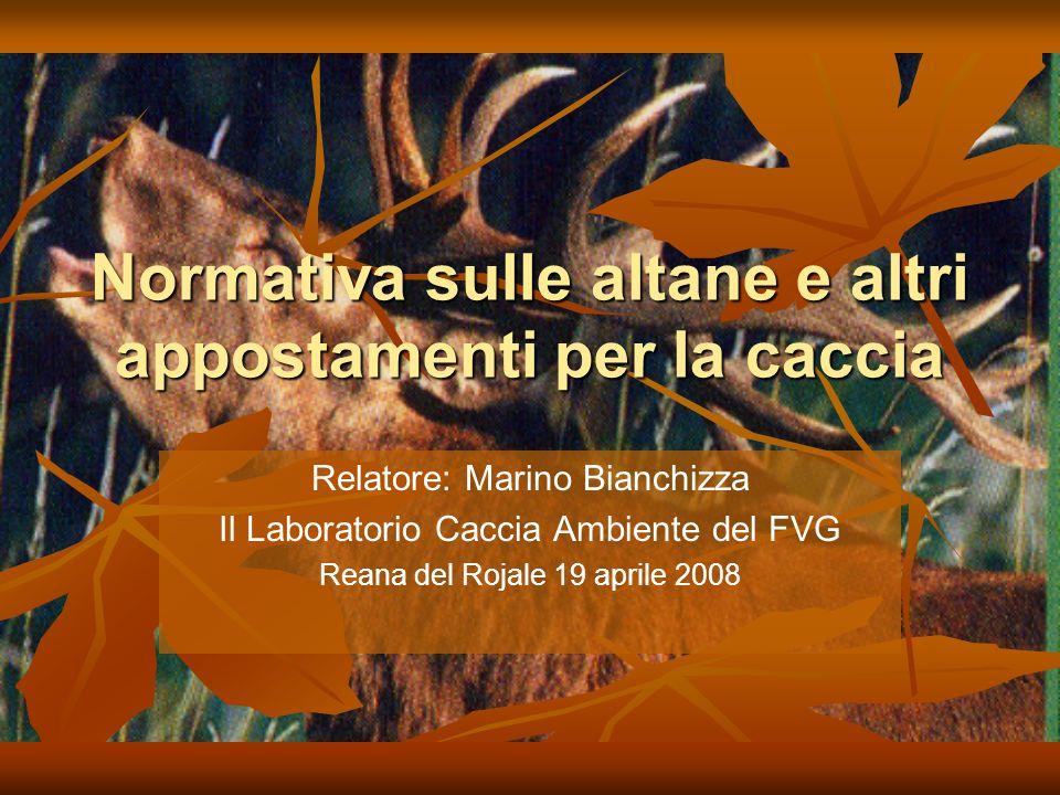 Normativa sulle altane e altri appostamenti per la caccia Relatore: Marino Bianchizza Il Laboratorio Caccia Ambiente del FVG Reana del Rojale 19 aprile 2008