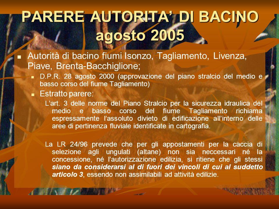 PARERE AUTORITA DI BACINO agosto 2005 Autorità di bacino fiumi Isonzo, Tagliamento, Livenza, Piave, Brenta-Bacchiglione; D.P.R.