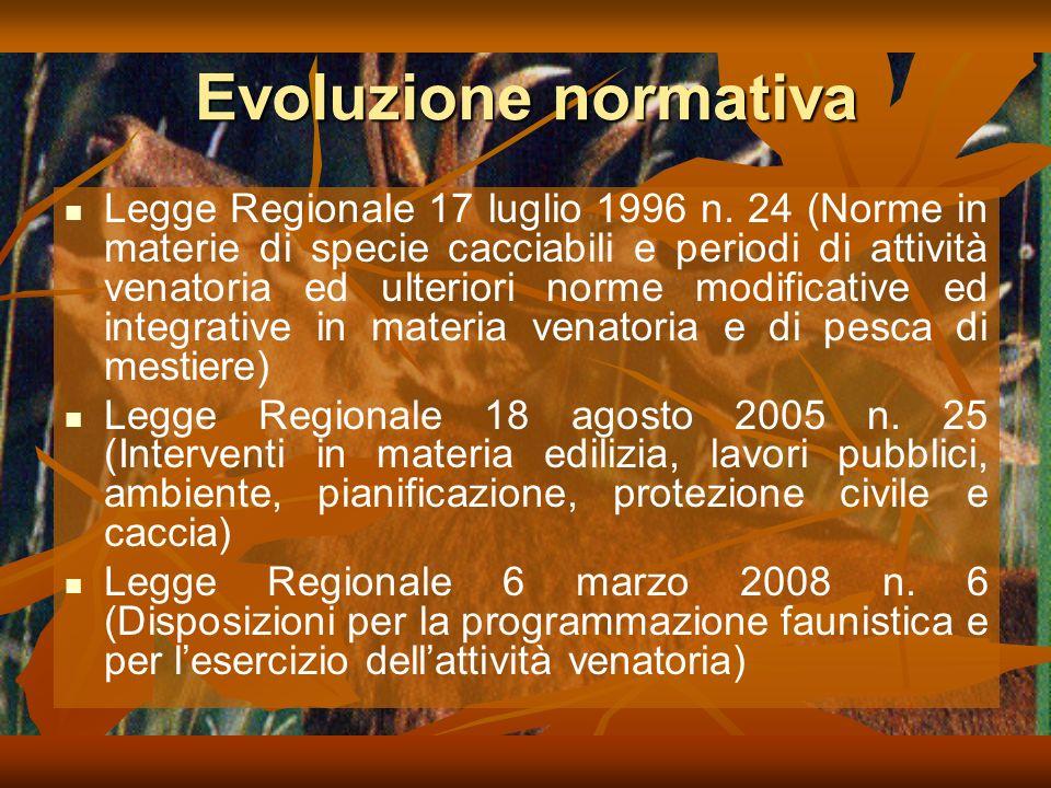 Evoluzione normativa Legge Regionale 17 luglio 1996 n.