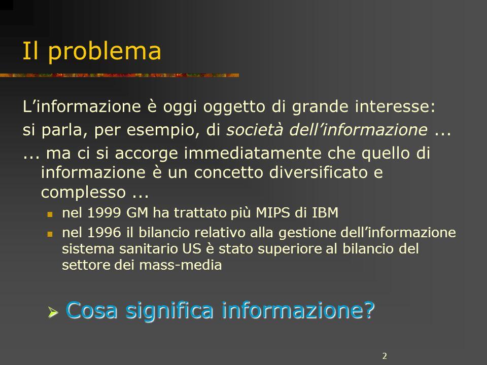 2 Il problema Linformazione è oggi oggetto di grande interesse: si parla, per esempio, di società dellinformazione......