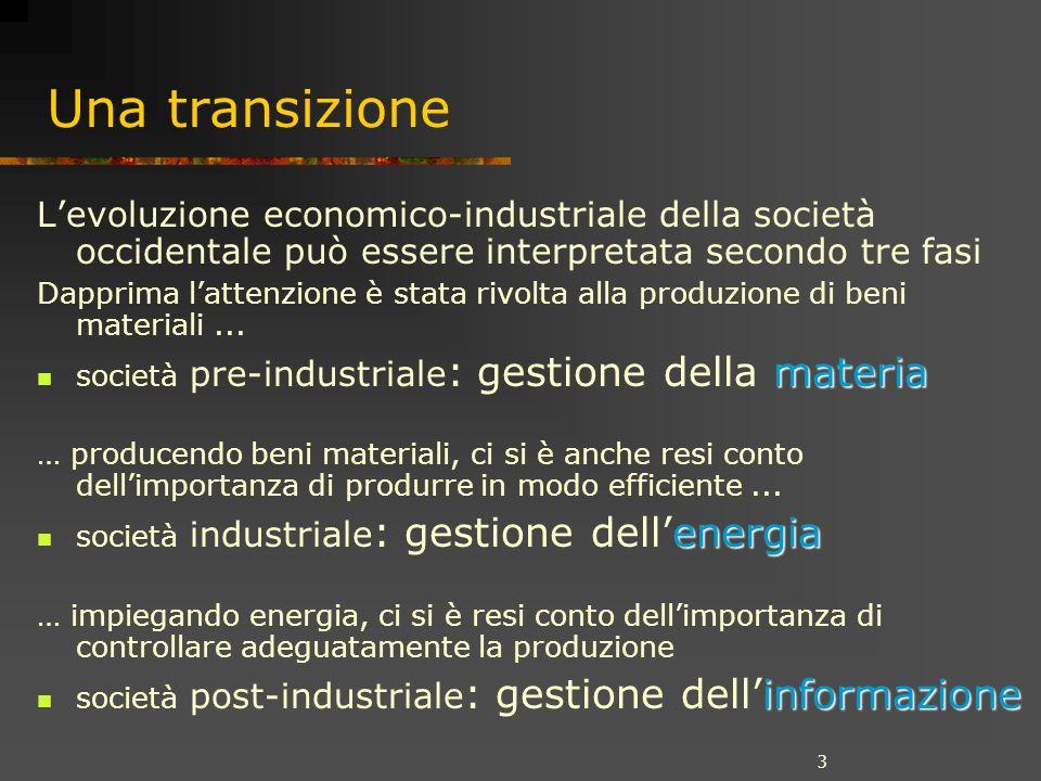 3 Una transizione Levoluzione economico-industriale della società occidentale può essere interpretata secondo tre fasi Dapprima lattenzione è stata rivolta alla produzione di beni materiali...