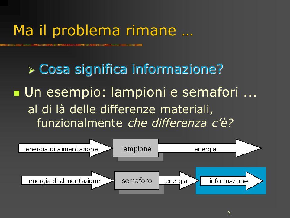 5 Ma il problema rimane … Un esempio: lampioni e semafori...