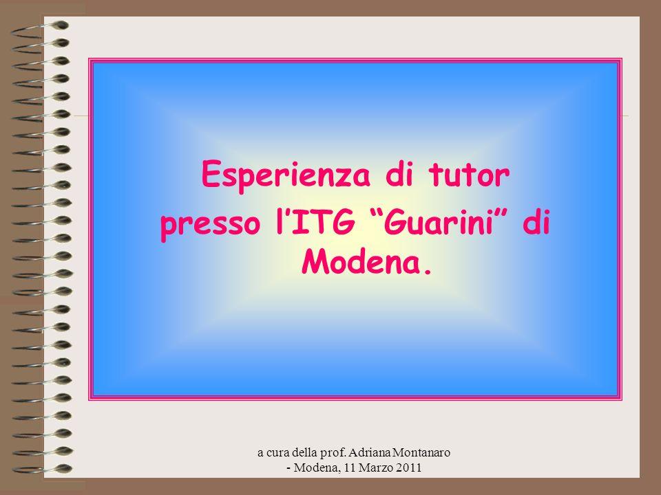 a cura della prof. Adriana Montanaro - Modena, 11 Marzo 2011 Esperienza di tutor presso lITG Guarini di Modena.