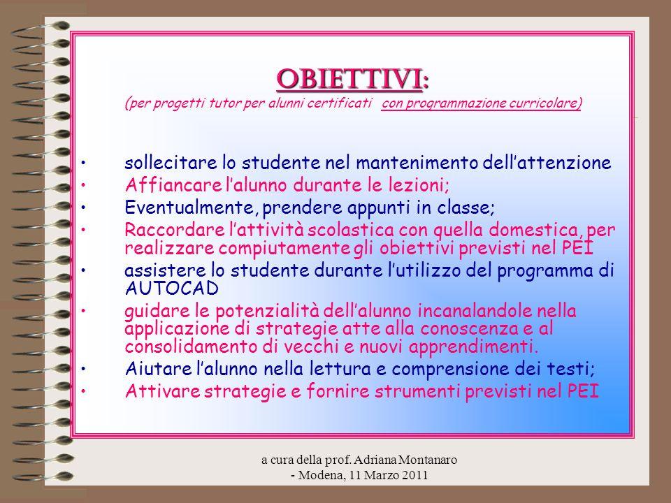 a cura della prof. Adriana Montanaro - Modena, 11 Marzo 2011 Obiettivi: ( per progetti tutor per alunni certificati con programmazione curricolare) so