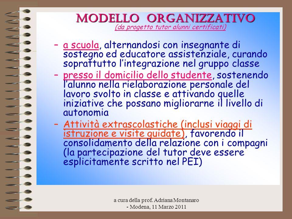 a cura della prof. Adriana Montanaro - Modena, 11 Marzo 2011 MODELLO ORGANIZZATIVO MODELLO ORGANIZZATIVO (da progetto tutor alunni certificati) –a scu
