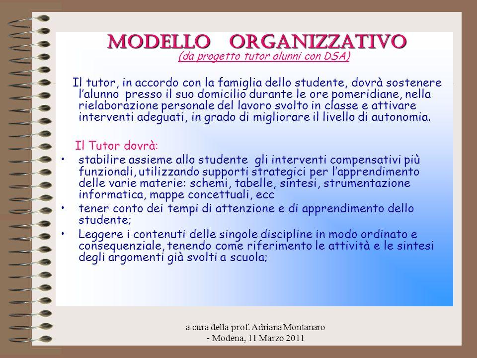 a cura della prof. Adriana Montanaro - Modena, 11 Marzo 2011 MODELLO ORGANIZZATIVO MODELLO ORGANIZZATIVO (da progetto tutor alunni con DSA) Il tutor,