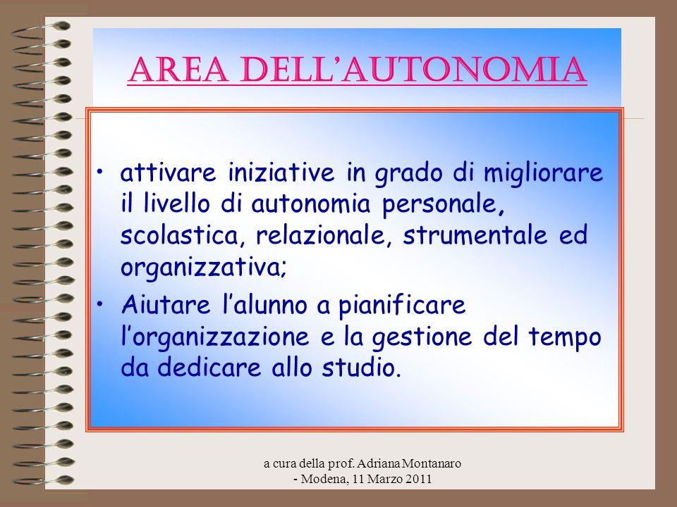 a cura della prof. Adriana Montanaro - Modena, 11 Marzo 2011 AREA DELLAUTONOMIA attivare iniziative in grado di migliorare il livello di autonomia per