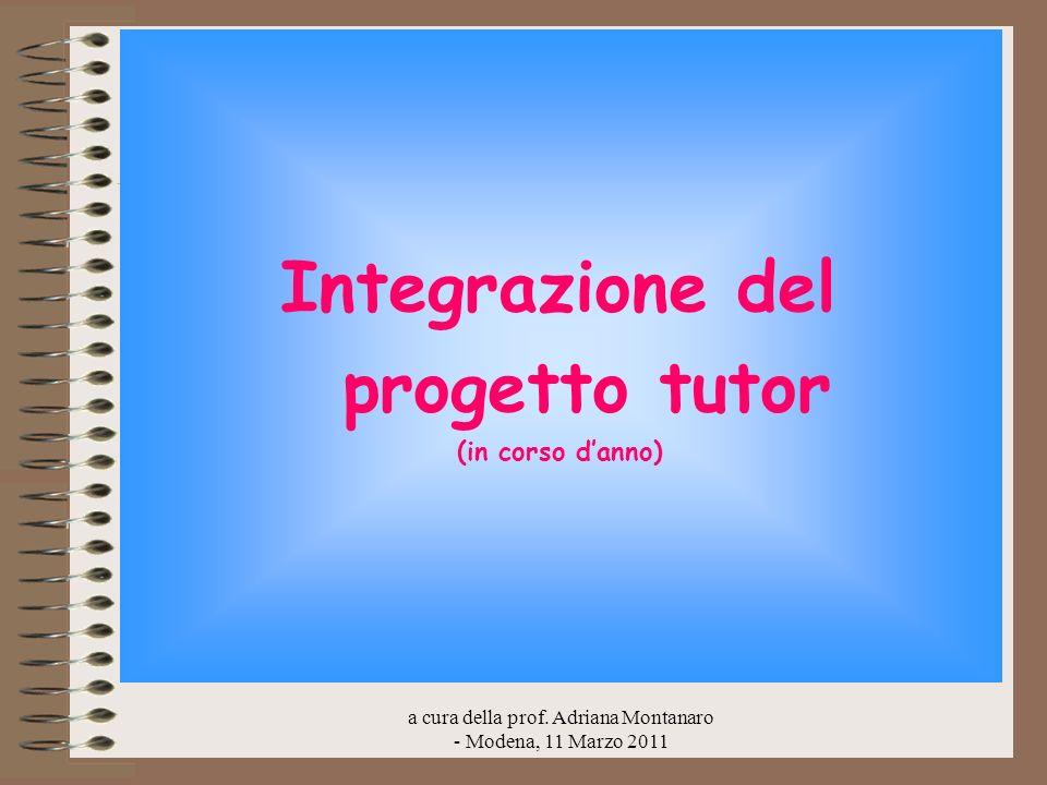 Integrazione del progetto tutor (in corso danno)