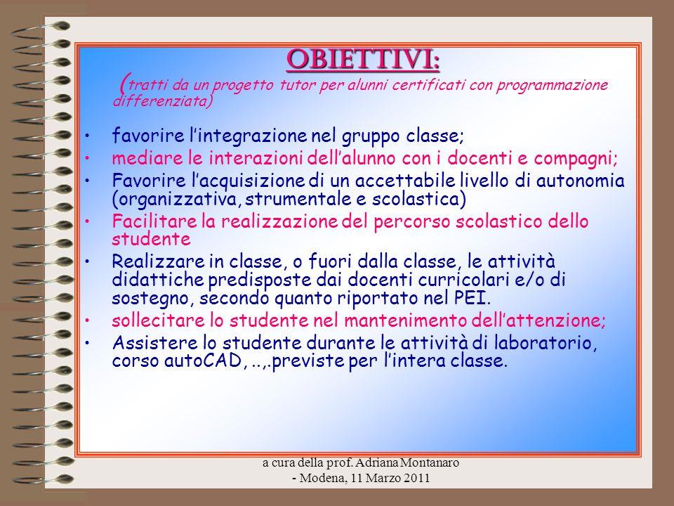 a cura della prof. Adriana Montanaro - Modena, 11 Marzo 2011 Obiettivi: Obiettivi: ( tratti da un progetto tutor per alunni certificati con programmaz