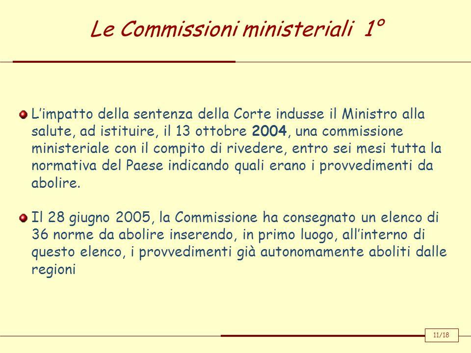 Le Commissioni ministeriali 1° Limpatto della sentenza della Corte indusse il Ministro alla salute, ad istituire, il 13 ottobre 2004, una commissione