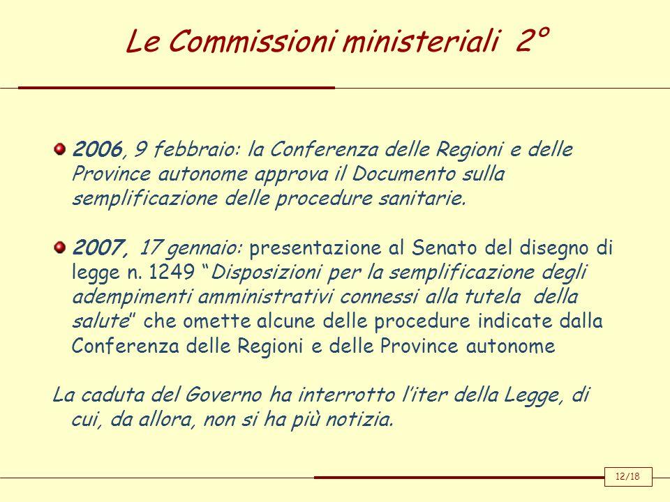 Le Commissioni ministeriali 2° 2006, 9 febbraio: la Conferenza delle Regioni e delle Province autonome approva il Documento sulla semplificazione dell