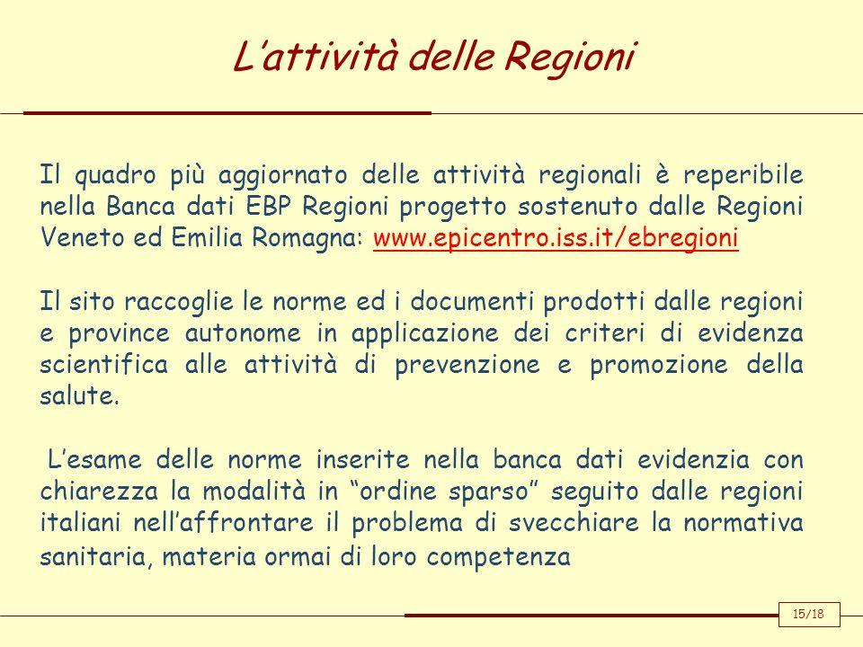 Lattività delle Regioni Il quadro più aggiornato delle attività regionali è reperibile nella Banca dati EBP Regioni progetto sostenuto dalle Regioni V