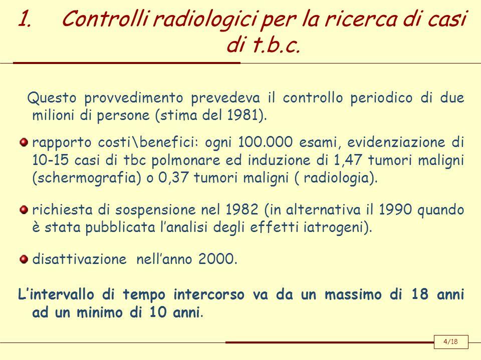 1.Controlli radiologici per la ricerca di casi di t.b.c. 4/18 Questo provvedimento prevedeva il controllo periodico di due milioni di persone (stima d