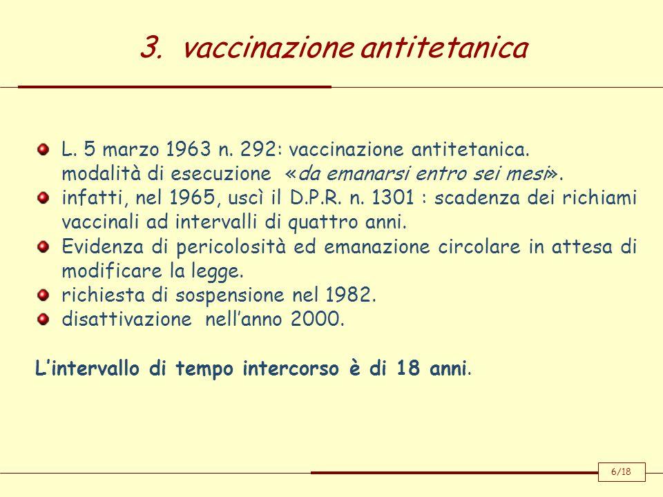 3. vaccinazione antitetanica 6/18 L. 5 marzo 1963 n. 292: vaccinazione antitetanica. modalità di esecuzione «da emanarsi entro sei mesi». infatti, nel