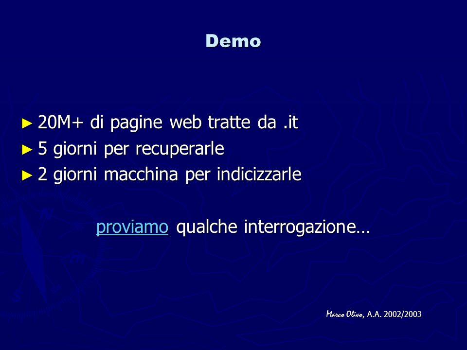 Demo 20M+ di pagine web tratte da.it 20M+ di pagine web tratte da.it 5 giorni per recuperarle 5 giorni per recuperarle 2 giorni macchina per indicizza