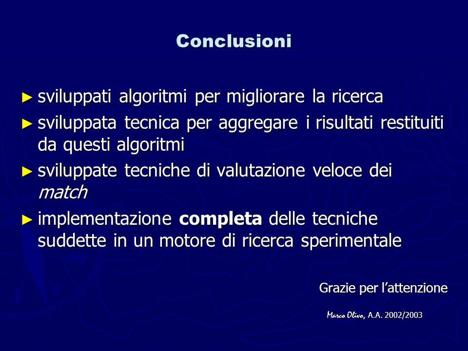 Conclusioni sviluppati algoritmi per migliorare la ricerca sviluppati algoritmi per migliorare la ricerca sviluppata tecnica per aggregare i risultati