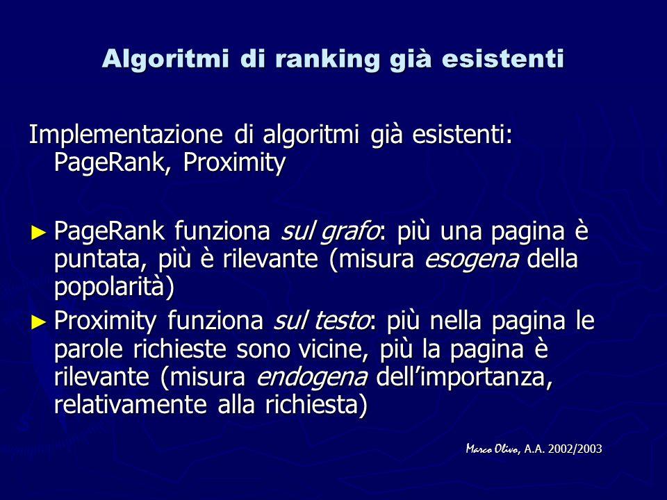 Algoritmi di ranking già esistenti Implementazione di algoritmi già esistenti: PageRank, Proximity PageRank funziona sul grafo: più una pagina è puntata, più è rilevante (misura esogena della popolarità) PageRank funziona sul grafo: più una pagina è puntata, più è rilevante (misura esogena della popolarità) Proximity funziona sul testo: più nella pagina le parole richieste sono vicine, più la pagina è rilevante (misura endogena dellimportanza, relativamente alla richiesta) Proximity funziona sul testo: più nella pagina le parole richieste sono vicine, più la pagina è rilevante (misura endogena dellimportanza, relativamente alla richiesta) Marco Olivo, A.A.