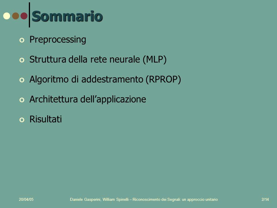 20/04/05Daniele Gasperini, William Spinelli – Riconoscimento dei Segnali: un approccio unitario2/14 Sommario Preprocessing Struttura della rete neurale (MLP) Algoritmo di addestramento (RPROP) Architettura dellapplicazione Risultati