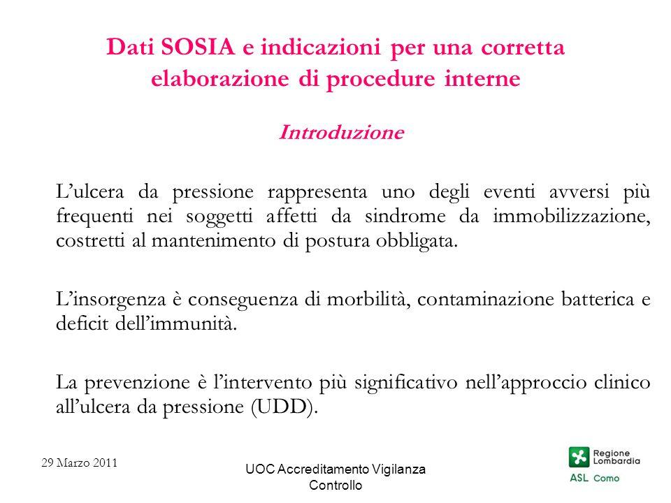 UOC Accreditamento Vigilanza Controllo Dati SOSIA e indicazioni per una corretta elaborazione di procedure interne Introduzione Lulcera da pressione r