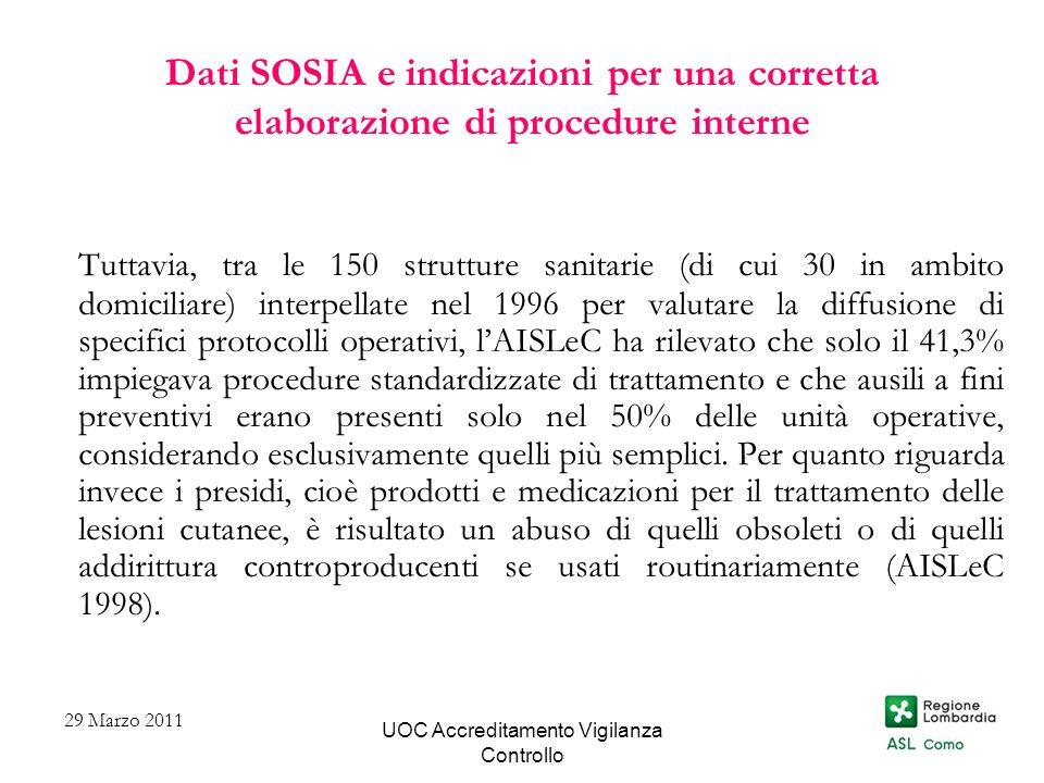 UOC Accreditamento Vigilanza Controllo Dati SOSIA e indicazioni per una corretta elaborazione di procedure interne Tuttavia, tra le 150 strutture sani