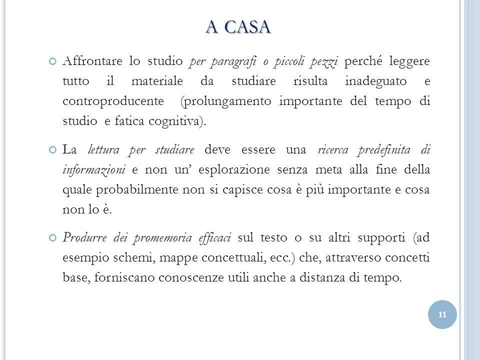 A CASA A CASA Affrontare lo studio per paragrafi o piccoli pezzi perché leggere tutto il materiale da studiare risulta inadeguato e controproducente (prolungamento importante del tempo di studio e fatica cognitiva).