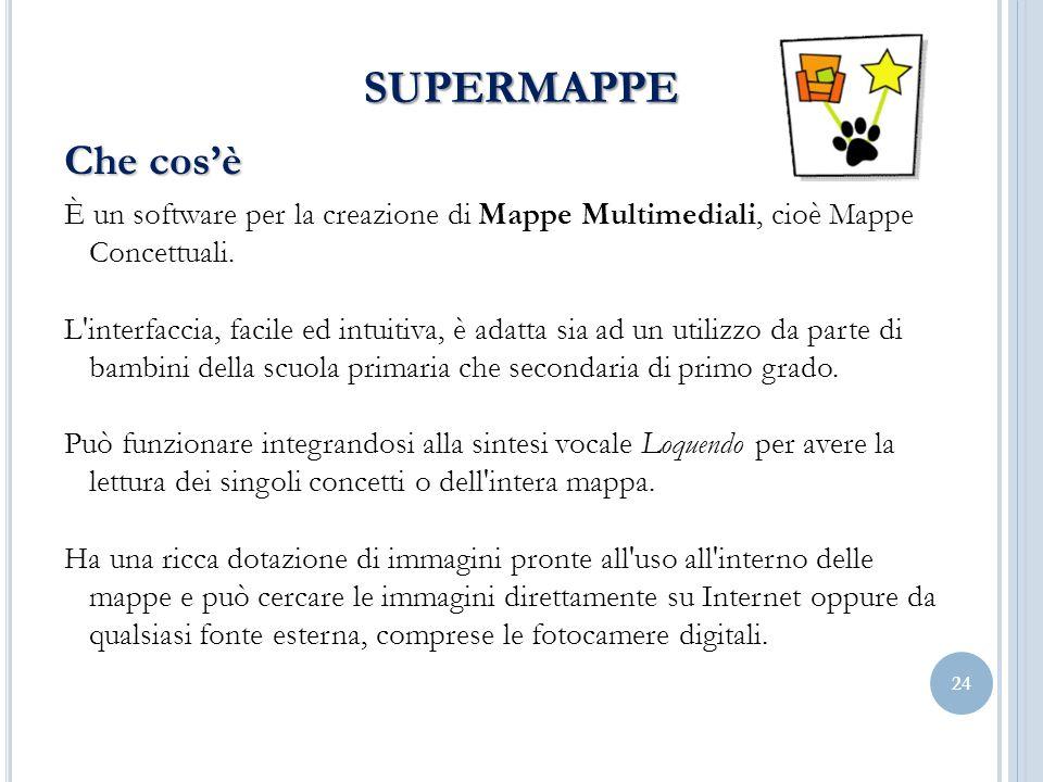 24 SUPERMAPPE Che cosè È un software per la creazione di Mappe Multimediali, cioè Mappe Concettuali. L'interfaccia, facile ed intuitiva, è adatta sia