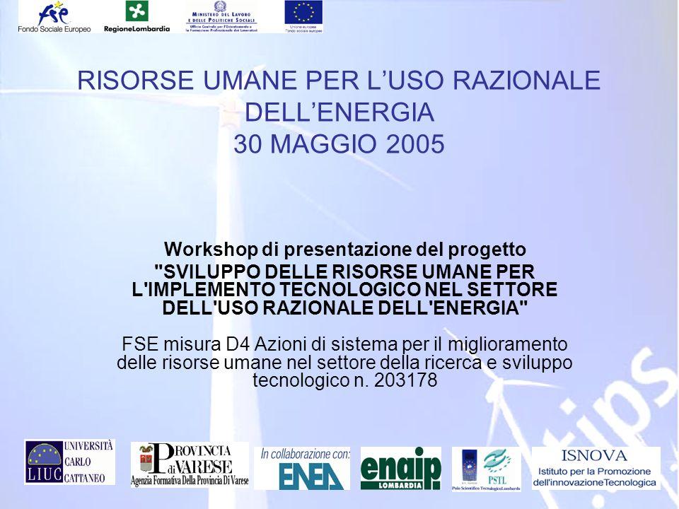 ID 203178 RVA RISORSE UMANE PER LUSO RAZIONALE DELLENERGIA 30 MAGGIO 2005 Workshop di presentazione del progetto