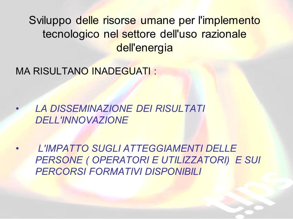 ID 203178 RVA Sviluppo delle risorse umane per l'implemento tecnologico nel settore dell'uso razionale dell'energia MA RISULTANO INADEGUATI : LA DISSE