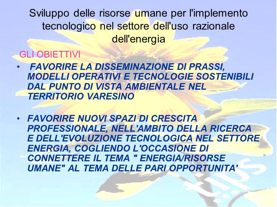 ID 203178 RVA Sviluppo delle risorse umane per l'implemento tecnologico nel settore dell'uso razionale dell'energia GLI OBIETTIVI FAVORIRE LA DISSEMIN