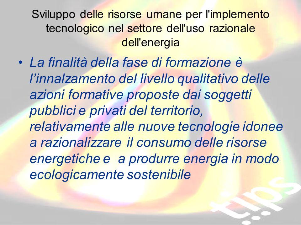 ID 203178 RVA Sviluppo delle risorse umane per l'implemento tecnologico nel settore dell'uso razionale dell'energia La finalità della fase di formazio