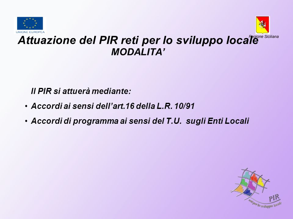 Attuazione del PIR reti per lo sviluppo locale MODALITA Il PIR si attuerà mediante: Accordi ai sensi dellart.16 della L.R. 10/91 Accordi di programma
