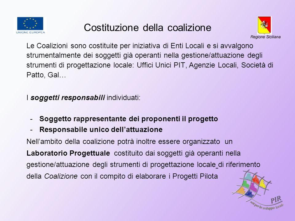 Costituzione della coalizione Le Coalizioni sono costituite per iniziativa di Enti Locali e si avvalgono strumentalmente dei soggetti già operanti nel