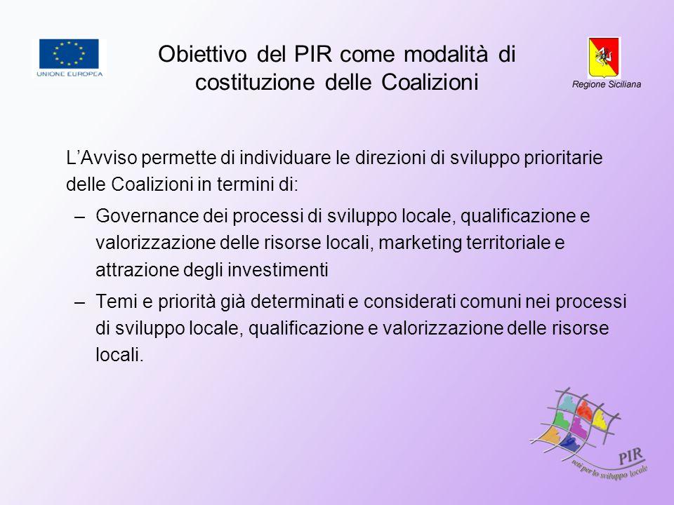 Obiettivo del PIR come modalità di costituzione delle Coalizioni LAvviso permette di individuare le direzioni di sviluppo prioritarie delle Coalizioni