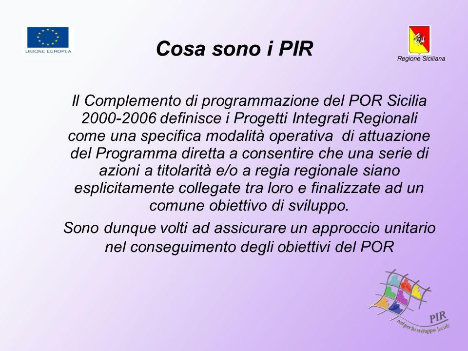 Cosa sono i PIR Il Complemento di programmazione del POR Sicilia 2000-2006 definisce i Progetti Integrati Regionali come una specifica modalità operat