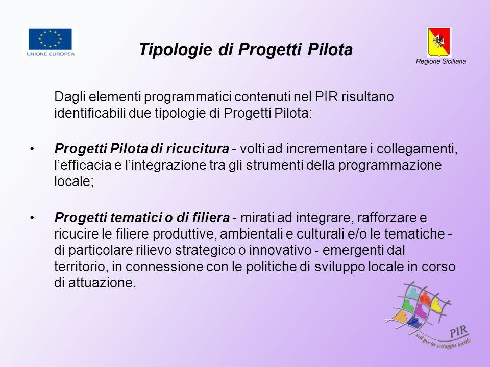 Tipologie di Progetti Pilota Dagli elementi programmatici contenuti nel PIR risultano identificabili due tipologie di Progetti Pilota: Progetti Pilota