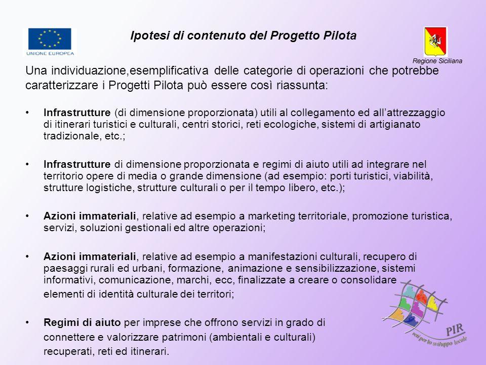 Ipotesi di contenuto del Progetto Pilota Una individuazione,esemplificativa delle categorie di operazioni che potrebbe caratterizzare i Progetti Pilot