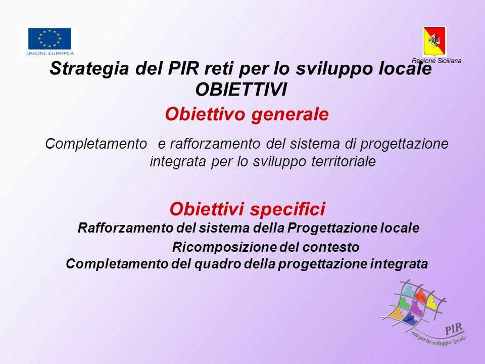Strategia del PIR reti per lo sviluppo locale OBIETTIVI Obiettivo generale Completamento e rafforzamento del sistema di progettazione integrata per lo sviluppo territoriale Obiettivi specifici Rafforzamento del sistema della Progettazione locale Ricomposizione del contesto Completamento del quadro della progettazione integrata