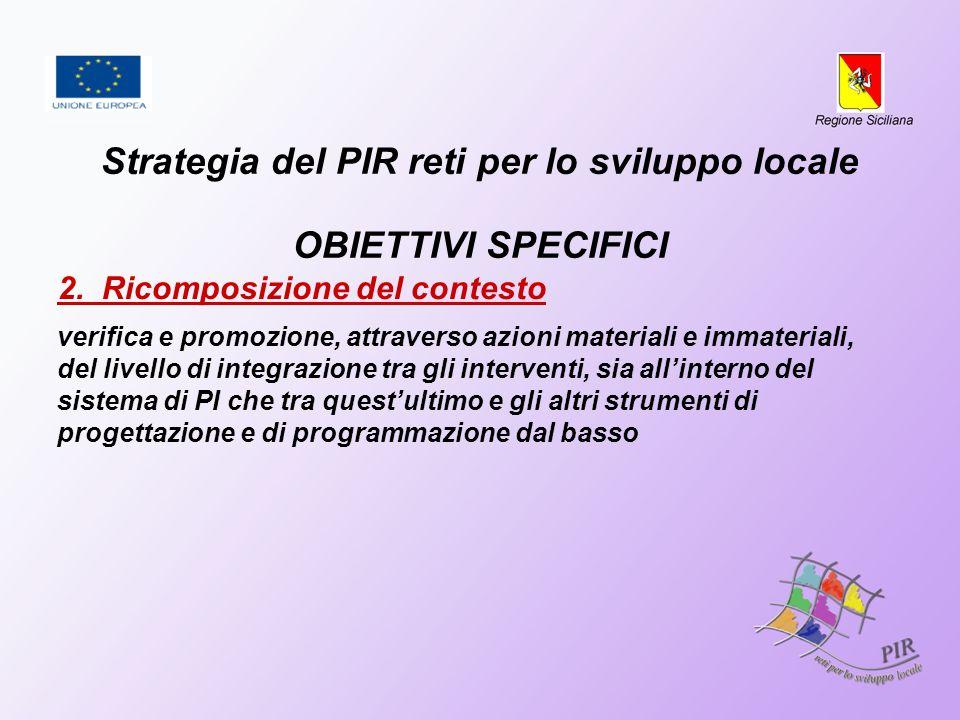 Strategia del PIR reti per lo sviluppo locale OBIETTIVI SPECIFICI 2. Ricomposizione del contesto verifica e promozione, attraverso azioni materiali e