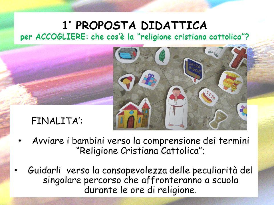 1 PROPOSTA DIDATTICA per ACCOGLIERE: che cosè la religione cristiana cattolica? FINALITA: Avviare i bambini verso la comprensione dei termini Religion