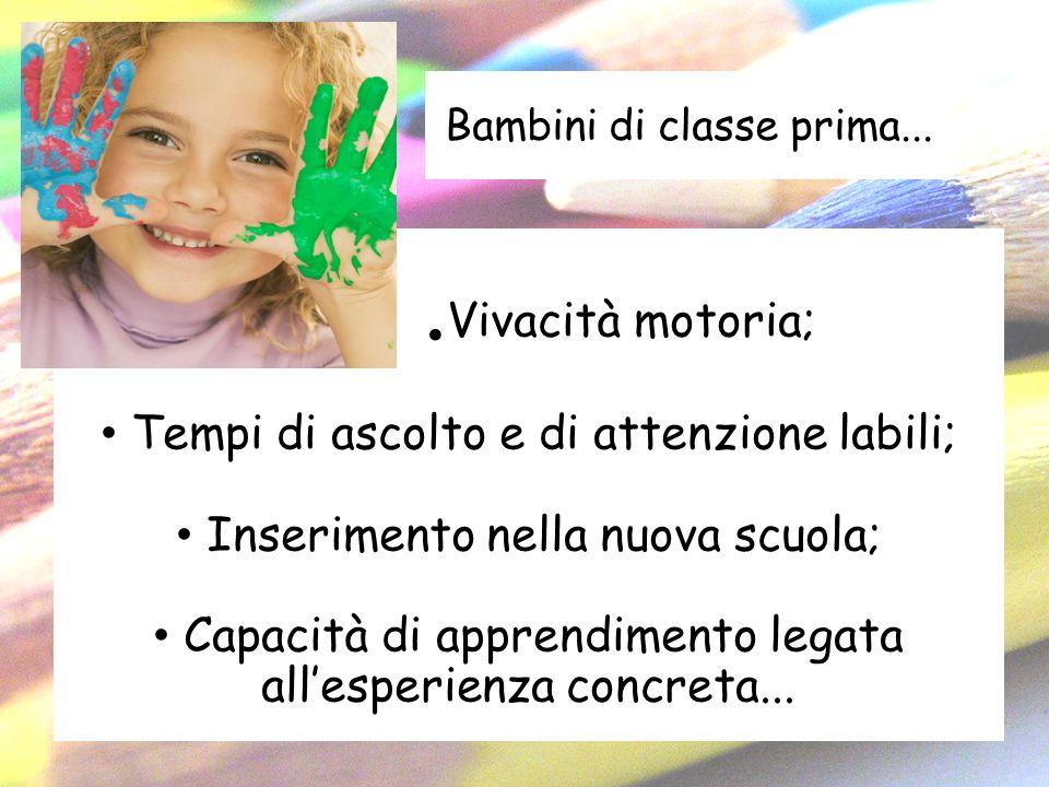 Bambini di classe prima.... Vivacità motoria; Tempi di ascolto e di attenzione labili; Inserimento nella nuova scuola; Capacità di apprendimento legat
