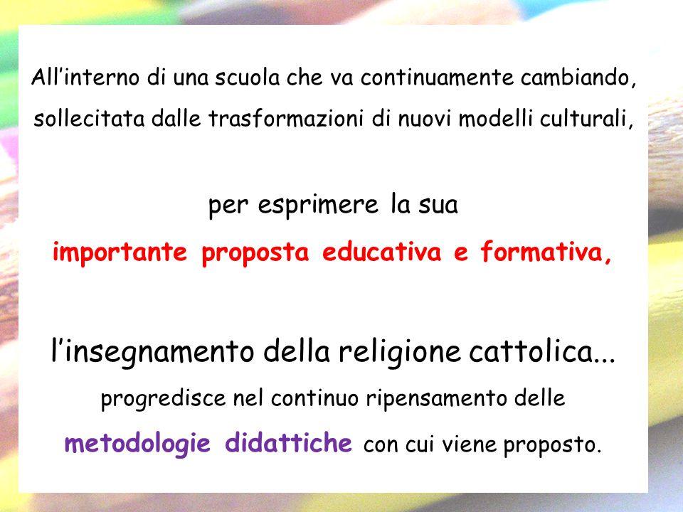 Allinterno di una scuola che va continuamente cambiando, sollecitata dalle trasformazioni di nuovi modelli culturali, per esprimere la sua importante