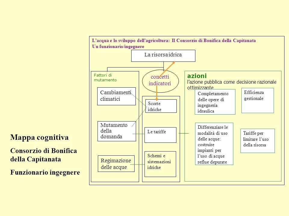 Lacqua e lo sviluppo dellagricoltura: Il Consorzio di Bonifica della Capitanata Un funzionario/ingegnere Fattori di mutamento Mutamento della domanda