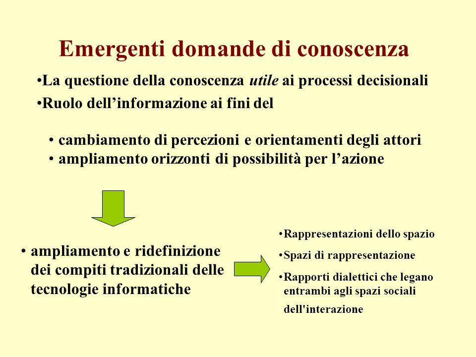 Emergenti domande di conoscenza La questione della conoscenza utile ai processi decisionali Ruolo dellinformazione ai fini del cambiamento di percezio