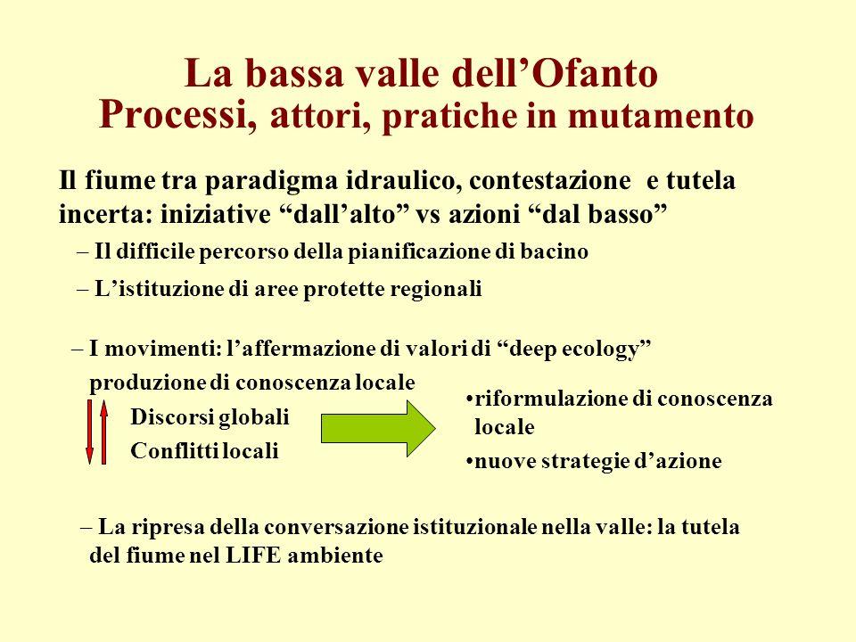 La bassa valle dellOfanto Processi, a ttori, pratiche in mutamento Il fiume tra paradigma idraulico, contestazione e tutela incerta: iniziative dallal