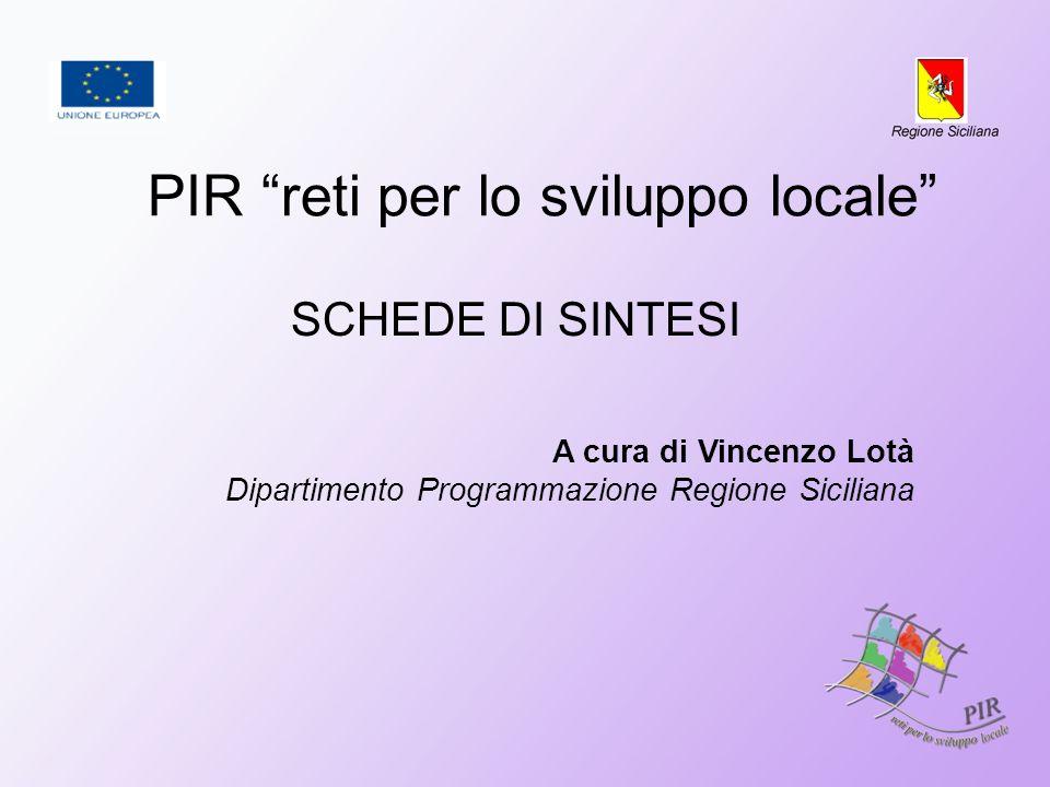 PIR reti per lo sviluppo locale SCHEDE DI SINTESI A cura di Vincenzo Lotà Dipartimento Programmazione Regione Siciliana